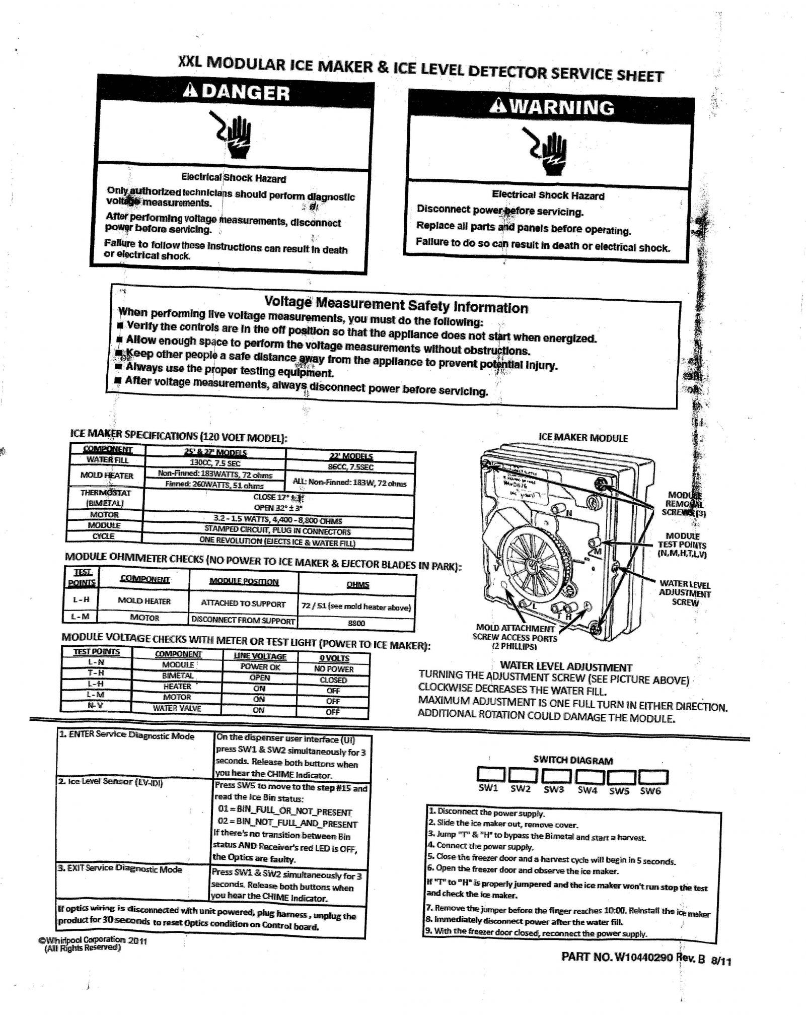 Whirlpool Refrigerator Ice Maker Parts Also Ice Maker Wiring Diagram