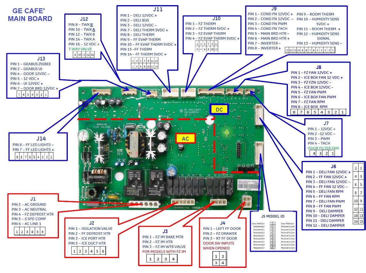 GYE22HSKBSS GE Refrigerator details - board wiring and thermistor location    Applianceblog Repair Forums   Ge Refrigerator Control Board Wiring Diagram      ApplianceBlog