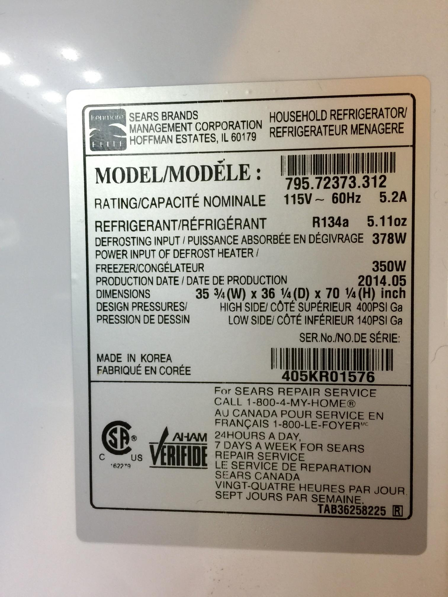 Sears Canada Appliance Repair Fixed Kenmore Elite Model 79572373312 Ice Chute Not Opening