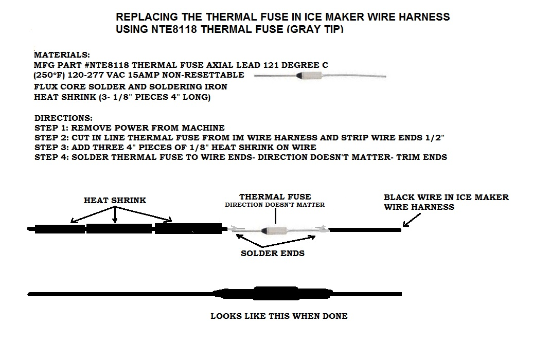 ice maker wiring harness thermal fuse ice image no power to ice maker harness on ice maker wiring harness thermal fuse