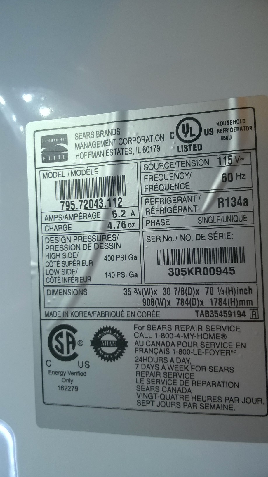Sears Canada Appliance Repair 79572043112 Kenmore Elite French Door Detecting A Leak In Front